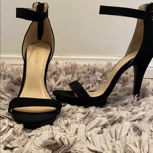 Black Suede Ankle Strap Heels